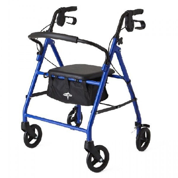 Lightweight 4-Wheel Rollator Walker w/Seat