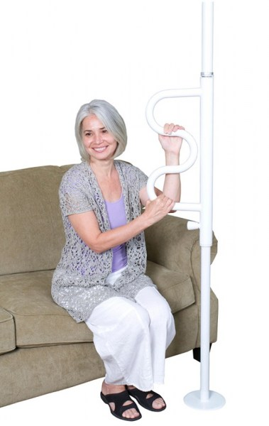 Stander Security Pole and Curve Grab Bar in WHITE